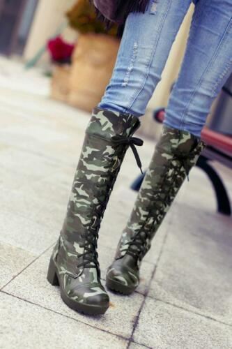 Women Chunky Heels Camo Round Toe Combat Military Knee High Boots Lace Up Shoes