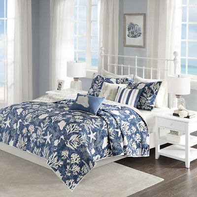 BEAUTIFUL BEACH TROPICAL CORAL BLUE AQUA TEAL SEA SHELL NAUTICAL OCEAN QUILT SET