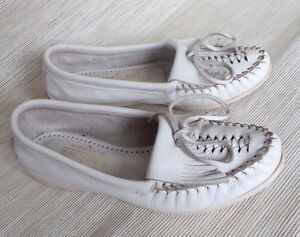 Minnetonka-White-344-Women-039-s-Moccasins-Size-6-5-Weaved-USA-Made-Vintage