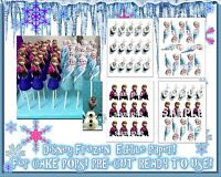 Edible Cake Stickers For Cake Pops Toppers Decals Characters Frozen Elsa Anna