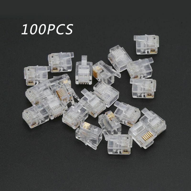 10pcs - 100pcs RJ12 6P6C Modular Plug Telephone ADSL Connector