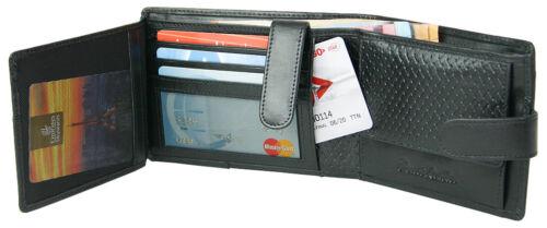 Herren Geldbörse mit RFID-Schutz aus geprägtem Echt-Leder schwarz in Geschenkbox