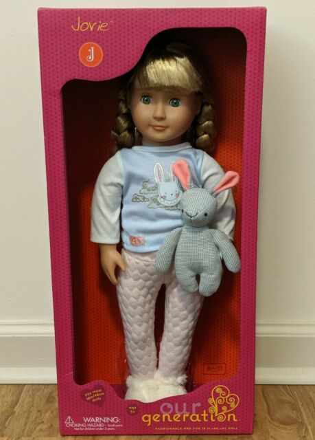 """Our Generation 18/"""" JOVIE Doll with Bunny PJs and Plush NIB//Sealed"""