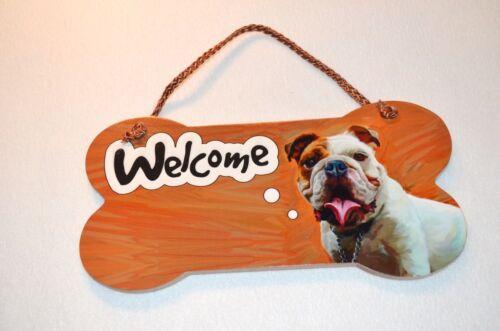 Little Gifts Laminated Welcome Door Sign BULLDOG Dog Lovers Bone Shape Wooden