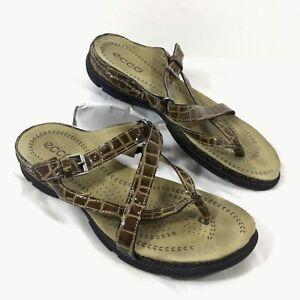 ddd9b96f8 ECCO Cork Croc Embossed Brown leather Slip on Slides Sandals Sz 37 ...
