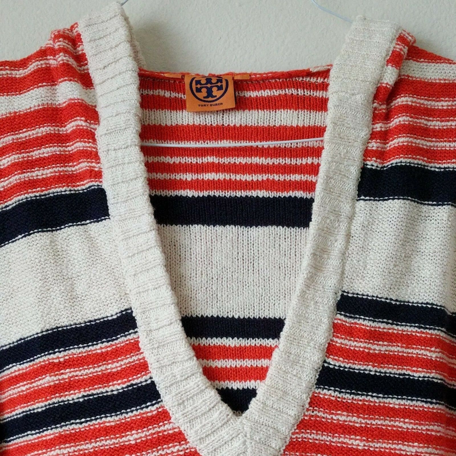 Tory Burch Womens Large Sweater Sweater Sweater orange White bluee Stripe Hood Knit Long Sleeves 7abe22