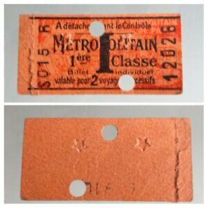 Ticket-Underground-Paris-1er-Class-2-Voyages-1941-Hallmark-Stars-WW2