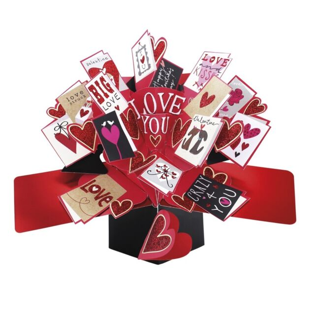 Love You Pop-Up Valentine's Day Card Valentines Pop Up Greeting Cards