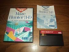 Maze Hunter 3-D Sega Master System Game Complete