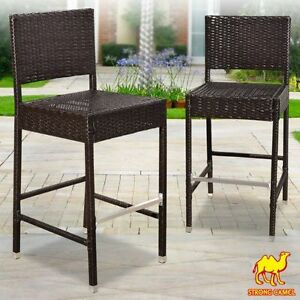 Details About Set Of 2 Dark Coffee Indoor Outdoor Wicker Bar Stool Patio  Furniture All Weather