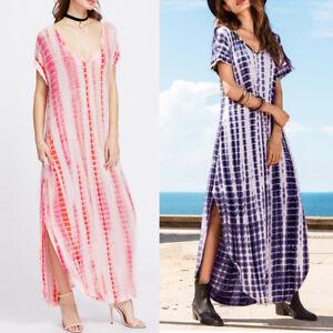 Plus-Size-Women-039-s-Boho-Long-Maxi-Dress-Summer-Loose-Casual-Kaftan-Beach-Sundress