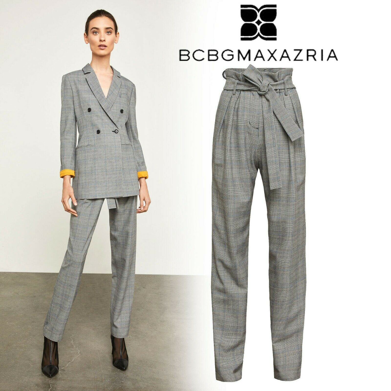 BCBGMAXAZRIA Womens Houndstooth Paperbag Waist Pleated Trouser
