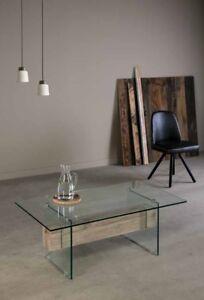 Design Glastisch Couchtisch 110x42x60 Cm Mit Balken Eiche Sonoma