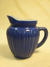 "Vintage Blue Platonite Milkglass Childs Toy Ribbed Pitcher Hazel Atlas? 4 1/8"""