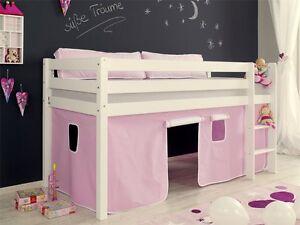 Etagenbett Spielbett : Vorhang für seiten hochbett spielbett etagenbett rosa weiss