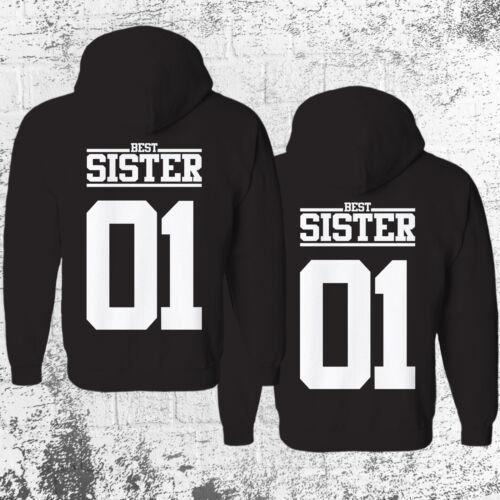 SISTER 01 Hoodie Pullover Schwarz Geschwister Beste Freundin Pärchen