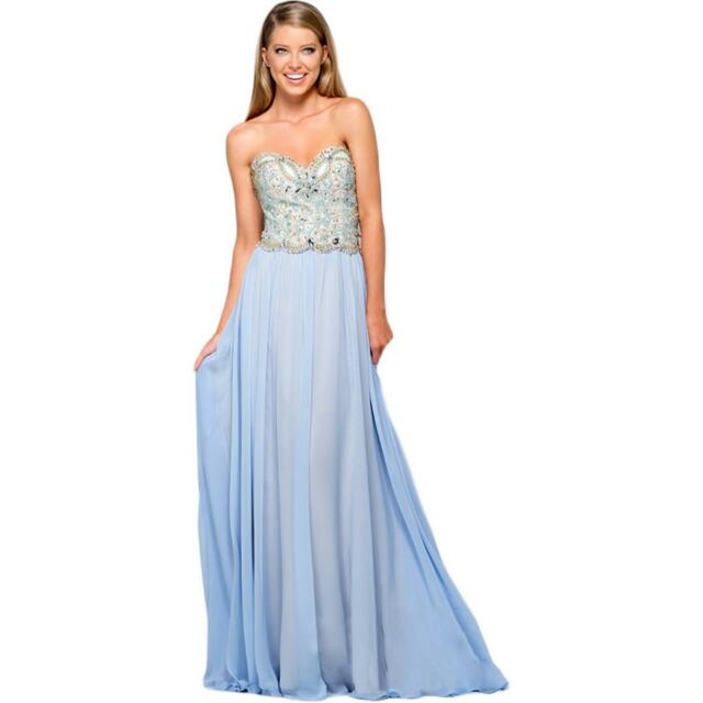 49ea3e99eb1 TERANI COUTURE ~ Light Blue Embellished Chiffon Strapless Formal Gown 16NEW   394