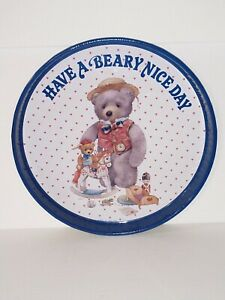 Vintage-Have-a-Beary-Nice-Day-Bear-Tin-Metal-Tray-Circular-Holiday-Giordano