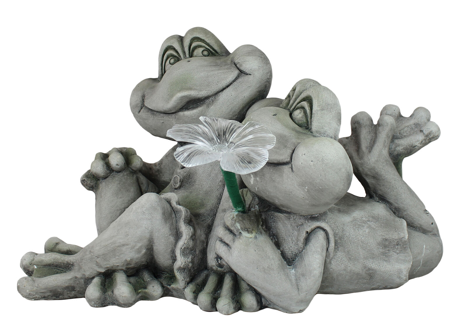 Dekofigur froschpaar con solar floración jardín personaje decoración tierdeko