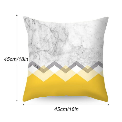 UK Boho Geometric Printed Cushion and Yellow Mustard Cover Pillowcase Sofa Grey*