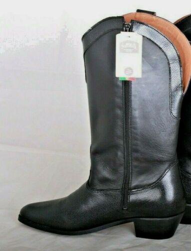 SOFTWALK Stiefel Westernstiefelette Boot Leder schwarz Reißverschluss Gr 43 NEU