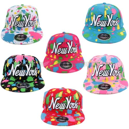 Raw Blue Paint Splash Graffiti New York Flat Peak Hip Hop Snapback Cap BOYS NY