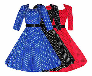 Ladies-40-039-s-50-039-s-Retro-Vintage-Polka-Dot-3-4-Sleeve-Rockabilly-Swing-Dress-New