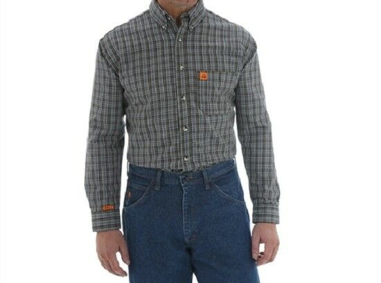bb7c38ca7fe WRANGLER RIGGS WORKWEAR FLAME RESISTANT FR SHIRT CHOCOLATE PLAID XX-LARGE  NEW 2X