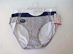 Saint Eve women/'s cotton and spandex bikini panties size Large 3 pair