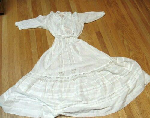 Antique Victorian White Cotton Long Dress Wedding