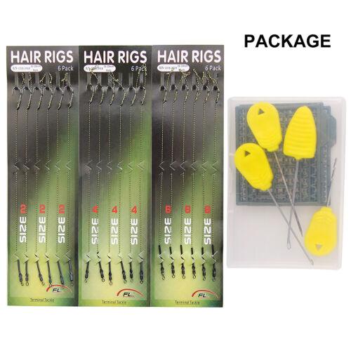 18pcs Carp Fishing Hair Rigs Barb Hooks Leader Rigging Set with Boilie Bait Stop