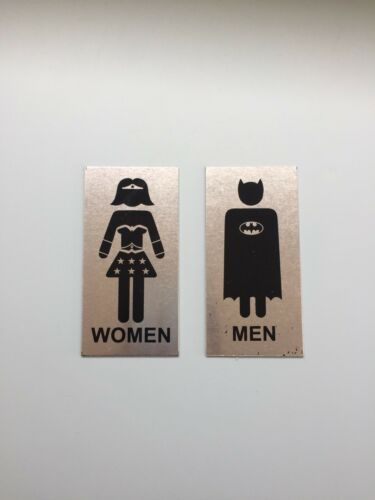Male And Female Toilet Door Sign One Set Of Batman N Wonder Woman Signs