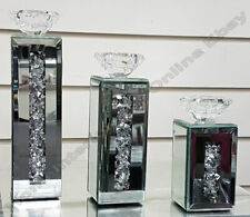 Mirror thick inlaid crystals/diamonds candle holders in small, medium, & large