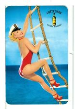 Single Playing Card, Cutty Sark Scots Whiskey Pin-Up on Ladder