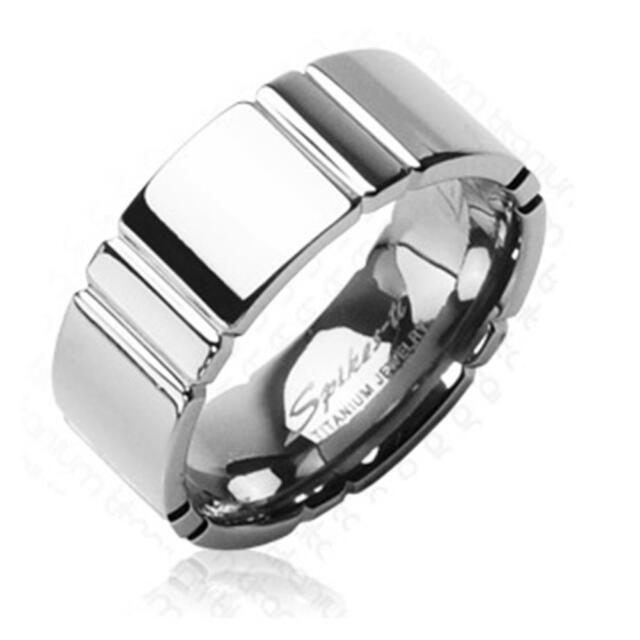 Coolbodyart AF Titan Unisex Ring silbern mehrfach eingekerbt 8mm breit