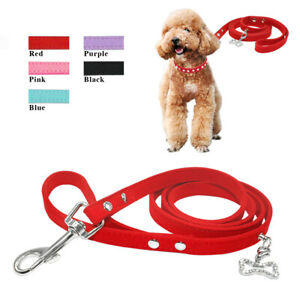 Soft-Suede-Pet-Cat-Dog-Walking-Lead-Leash-Clip-with-Bone-Pendant-for-Small-Dogs