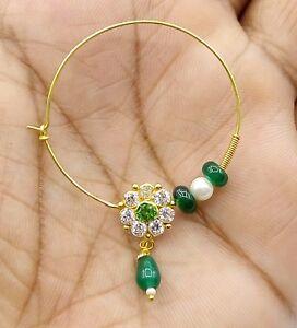 Rajasthani 20k Gold Nose Ring Nath Bridal Antique Cubic Zirconia