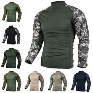 Mens-Army-Military-Battle-Combat-Camo-Tactical-Uniform-Hunting-Game-Shirts-Tops