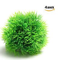 4pcs Aquarium Decor Fish Tank Decoration Artificial Plastic Green Moss Ball