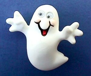 Hallmark-PIN-Halloween-Vintage-GHOST-Googly-Eyes-1987-Holiday-Brooch