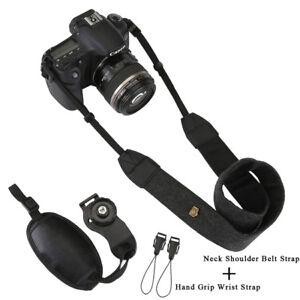 Black-Digital-Camera-Neck-Shoulder-Belt-Strap-SLR-Camera-Hand-Grip-Wrist-Strap