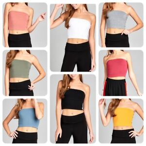 Fashion-Solid-Cropped-Tube-Top-Layering-Stretchable-Spandex-S-3XL