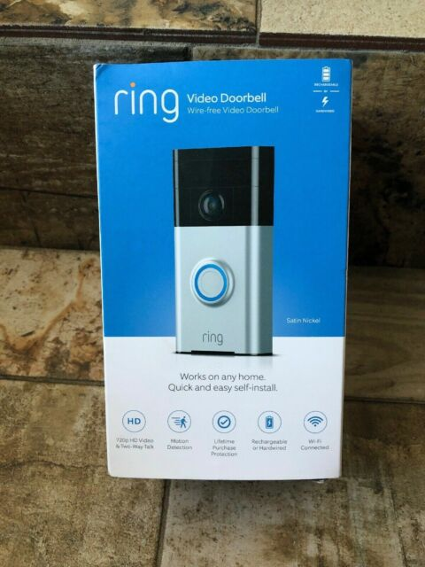 NEW SEALED! Ring Wi-Fi Enabled Video Doorbell in Satin Nickel Works with Alexa