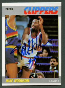 Mike Woodson #128 signed autograph auto 1987-88 Fleer Basketball Trading Card