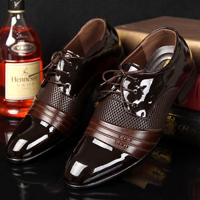 men's business casual pantent leather shoes pointed toe