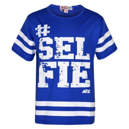 Kids Girls T Shirt Tops Designer #Selfie Print Royal American Baseball Top 5-13Y