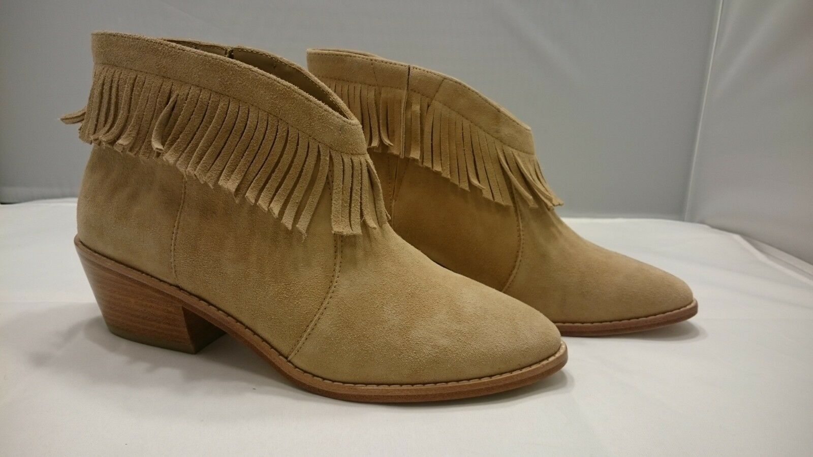 SZ 8 38 NEW NIB Joie Makena Boots SCN-2394 Buff Ankle Fringe Booties shoes Nude