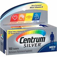 4 Pack Centrum Silver Men's Multivitamin Supplement 100 Tablets Each on Sale