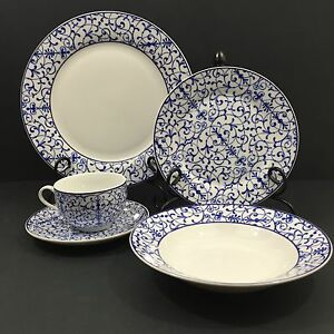 Image is loading Rare-and-Luxurious-30pc-CACHAREL-MAISON-Ripley-Blue- & Rare and Luxurious 30pc CACHAREL MAISON Ripley Blue Fine China ...
