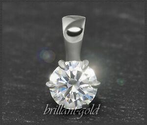 Diamant-Brillant-585-Gold-Anhaenger-0-53-ct-Top-Wesselton-Si-14-Karat-Weissgold